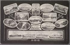 NL-HlmNHA_162_2519_832 Verzamelkaart (z.g. Mikroskop-Karte?) met 16 afbeeldingen: Panorama van den Haven, Hr. Ms ...