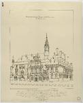 NL-HlmNHA_52001591 Gezicht op het stadhuis van Haarlem met de herbouwde toren. Pen in zwart door Lucas Christiaan ...