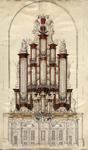 NL-HlmNHA_53004802 Ontwerp voor het (nieuwe) grote orgel in de Grote of Sint-Bavokerk. Met schaalstok en verso ...